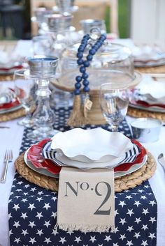 Beautiful Fourth of July Tablescape