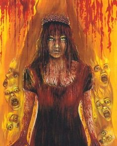 """Carrie White at the prom"" by Glenn Chadbourne Cemetery Dance released news today that they will be selling prints of Glenn Chadbo. Carrie Stephen King, Stephen King Novels, Cemetery Dance, Carrie White, Best Horror Movies, Horror Books, Horror Art, Joker Art, King Art"