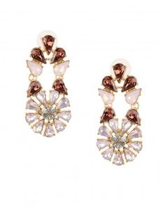 Crystal Floral Earrings with Smoked Topaz Crystal - $55