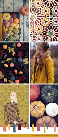 So many beautiful autumn colours around at the moment,I couldn't resist another colour crush post featuring these lovely rich tones. That coat. Those macarons. Colour Schemes, Color Trends, Color Patterns, Colour Combinations, Style Deco, Colour Board, Color Stories, Mellow Yellow, Color Pallets