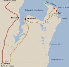 Barra Maps - Praia da Barra Mozambique Accommodation