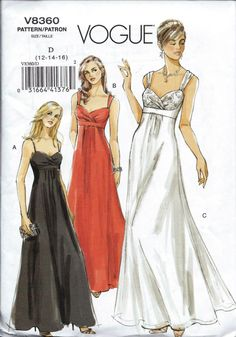Vintage Pattern Emporium - Evening Dress Empire Waist Pattern Vogue 8360 Size 12,14,126, $9.72 (http://www.vintagepatternemporium.com/evening-dress-empire-waist-pattern-vogue-8360-size-12-14-126/)