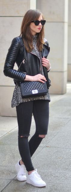 Black, White And Grey Outfit Idea by Vogue Haus