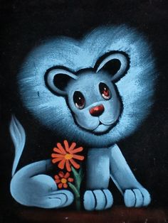 Black Velvet Lion Painting by irenejoy on Etsy, $24.99