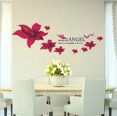 2015 moda 3d adesivos de parede decoração flor de lírio vermelho vinil removível quarto adesivo decoração parede decalques frete grátis alishoppbrasil