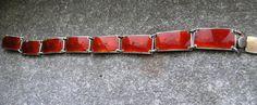 Vintage Sterling Silver Guilloche Red Enamel by Magnus Aase(? Crown Symbol, David Anderson, Enamel Jewelry, Norway, Scandinavian, Two By Two, Flaws, Sterling Silver, Bracelets