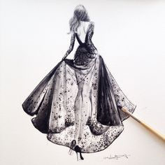dress, drawing, and fashion resmi