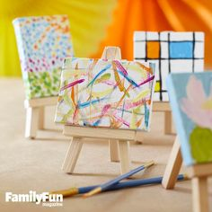 Mini Masterworks: Find some images of famous paintings (check the local library for coffee-table art books), then invite kids to try making artwork in the style of their favorites, using acrylic paint and tiny canvases. Let the paintings dry, then display them on mini easels. (Canvases and easels are sold at craft stores.)