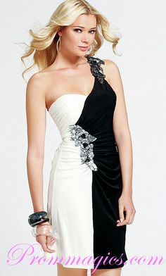 Black And White evening dress   ... One Shoulder Black And White Beaded Satin Cocktail Dress Plus Size