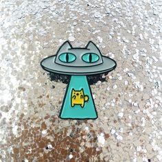 Alien Abduction Cat Enamel Lapel Pin by thepinksamurai on Etsy