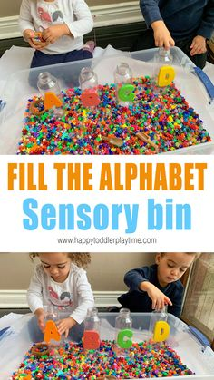 Fill the Alphabet Toddler Activity - HAPPY TODDLER PLAYTIME Fill the alphabet toddler activity is a fun scoop and pour alphabet sensory bin and a great way to learn and practice the alphabet. Sensory Bins, Sensory Activities, Hands On Activities, Infant Activities, Sensory Play, Play Based Learning, Learning Through Play, Kids Learning, Educational Games For Preschoolers