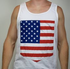 Abolish sleevery. Exercise your right to bare arms. Show off your patriotism. So many activities in this American flag tank top.