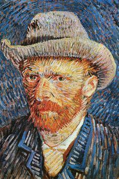 Self Portrait with Felt Hat (Winter 1887 - By Vincent van Gogh, from Zundert, the Netherlands - - oil on canvas; 44 x cm - [Post-Impressionism] Place of creation: Paris Van Gogh Museum, Amsterdam www. Van Gogh Pinturas, Van Gogh Portraits, Van Gogh Self Portrait, Portrait Art, Vincent Van Gogh, Van Gogh Museum, Art Van, Van Gogh Arte, Van Gogh Paintings