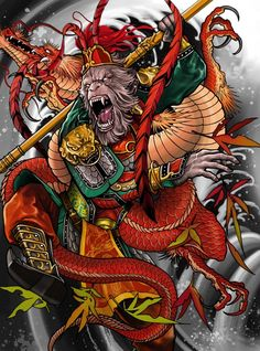 """Monkey King"" Art Print by Elvin Tattoo on Artsider.com"