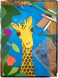 Giraffe, color mixing, printing and collage