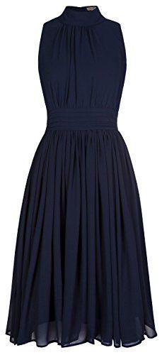 Lindy Bop 'Kitty' Vintage 1950's Chiffon Rockabilly Swing Dress (M, Blue)