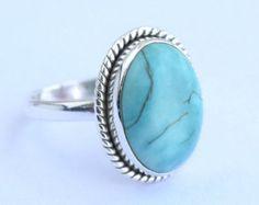 Anillo turquesa nepalí anillo piedra turquesa por honeysilverx