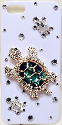 Beautiful GREEN TURTLE Bling Crystal White Case Cover for iPhone 5