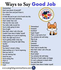 45 Ways to Say Good Job in English, English Phrases for Saying Good Job Learn English Grammar, English Writing Skills, English Language Learning, Learn English Words, English Lessons, Teaching English, English English, English Communication Skills, English Speaking Skills