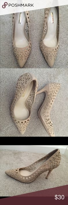 BCBG real soft leather nude pump heels size 7 Bcbg leather pump heels size 7. Worn couple of times and showing signs of wear. Light dirt on heels(please see the pictures).  Very comfortable and soft. BCBGeneration Shoes Heels