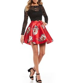 Jodi Kristopher Long Sleeve with Floral Print Two-Piece Dress 2 Piece Homecoming Dresses, Tight Prom Dresses, 2 Piece Prom Dress, Formal Dresses With Sleeves, Hoco Dresses, Beautiful Prom Dresses, Mermaid Prom Dresses, Dresses For Teens, Cute Dresses