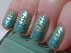 More nail art, this time with a cool pallet.  love the play of matte vs shimmer design!