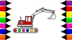 How To Draw Excavator Truck Coloring Page Learn Colors For Kids With Co