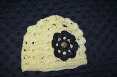 Crochet Baby beenie with embellishment by ESCreations14 on Etsy, $14.50