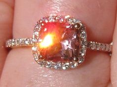 Precision Cut Cushion Peachy Pink Spinel in Rose Gold Diamond Halo Engagement Ring, by JuliaBJewelry on Etsy