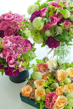Pretty Flower Arrangements. I really like the one in the box.