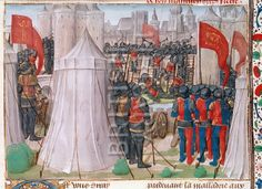 BL Royal 15 E. I, f. 438, Chronique d'Ernoul et de Bernard le Trésorier,Siege of Jerusalem by Saladin, late 15th century