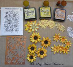 Heartfelt Creations Classic Sunflowers.  I explain how I created them on my blog: http://selmasstampingcorner.blogspot.com/2014/09/heartfelt-creations-classic-sunflower_9.html