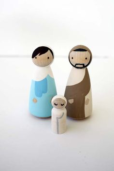 Simple and modern instructions for a peg doll nativity set complete with MCM inspired manger. Nativity Peg Doll, Diy Nativity, Christmas Nativity Scene, Christmas Ornaments, Nativity Sets, Christmas 2016, Cork Crafts, Fun Crafts, Crafts For Kids