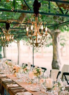 Outdoor chandeliers tablescapes