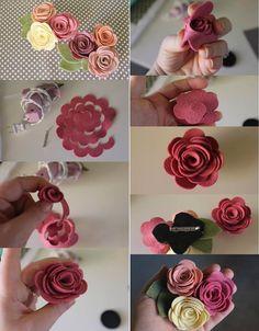 Bellart Atelier: 6 footsteps of felt flowers Paper Flowers Craft, Giant Paper Flowers, Paper Roses, Felt Flowers, Flower Crafts, Diy Flowers, Fabric Flowers, Flower Svg, Diy Arts And Crafts