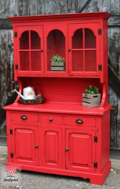 I love our upcycled red hutch! I love our upcycled red hutch! Red Painted Furniture, Blue Furniture, Distressed Furniture, Refurbished Furniture, Colorful Furniture, Repurposed Furniture, Kitchen Furniture, Rustic Furniture, Diy Furniture