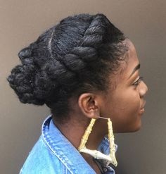 60 Easy and Showy Protective Hairstyles for Natural Hair - Flat Twist Crown Braid Updo Informations About 60 Easy and Showy Protective Hairstyles for Natural H - Natural Hair Haircuts, Protective Hairstyles For Natural Hair, Natural Hair Updo, Teen Hairstyles, Twist Hairstyles, African Hairstyles, Black Women Hairstyles, Natural Hair Styles, Short Haircuts