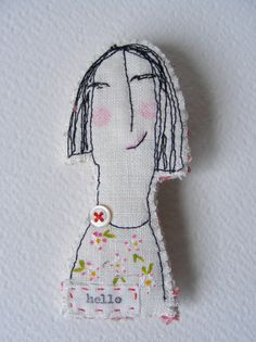 Handmade textile machine embroidered BROOCH ... Hello. $32.00, via Etsy.