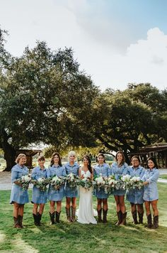 Cowgirl bridesmaid dresses in denim from country vineyard wedding at Beneath The Oaks event venue in Texas wedding jeans Denim Wedding Dresses, Jeans Wedding, Country Bridesmaid Dresses, Cowgirl Wedding, Western Wedding Dresses, Wedding Bridesmaids, Cowgirl Dresses, Cowgirl Clothing, Denim Dresses