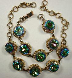 Signed Schiaparelli classic faux tourmaline necklace & bracelet | eBay