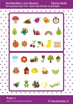 5 kaarten: Leuk spel voor kleuters, Herfsthebbes kaart 5, by juf Petra van kleuteridee, oefent de visuele discriminatie en het geheugen, free printable.