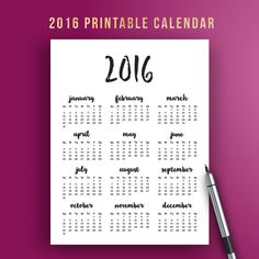 10 best printable 2016 monthly calendars images on pinterest