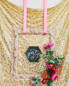 Lovely glitter sequin backdrop with florals for any glam booth snap! #rentmyphotobooth Nice photo via #100LayerCake