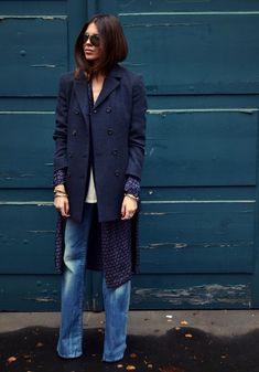 maja-wyh-9 : Ladies blue coat, blue jeans, blue blouse, layers