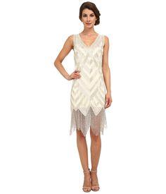Unique Vintage - Forster Beaded Flapper Dress IvorySilver Womens Dress $378.00 AT vintagedancer.com