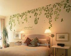Mooie takken met vliegende vogels muur sticker