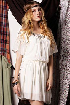 ROMWE | Off-shoulder Pleated White Dress, The Latest Street Fashion #ROMWE