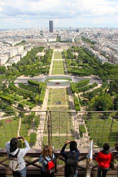 The view from the Eiffel Tower of the Champ de Mars, Paris France