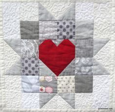 A quilter focused on original design, creativity, color, an Heart Quilt Pattern, Quilt Block Patterns, Pattern Blocks, Star Patterns, Small Quilts, Mini Quilts, Quilting Projects, Quilting Designs, Small Quilt Projects