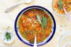 Tuscan White Bean Soup: olive oil, onion, celery, garlic, oregano,  thyme,  basil, carrots, tomatoes, vegetable stock, cannellini beans, sage (optional), salt, pepper #thanksgiving #vegetarian #recipe